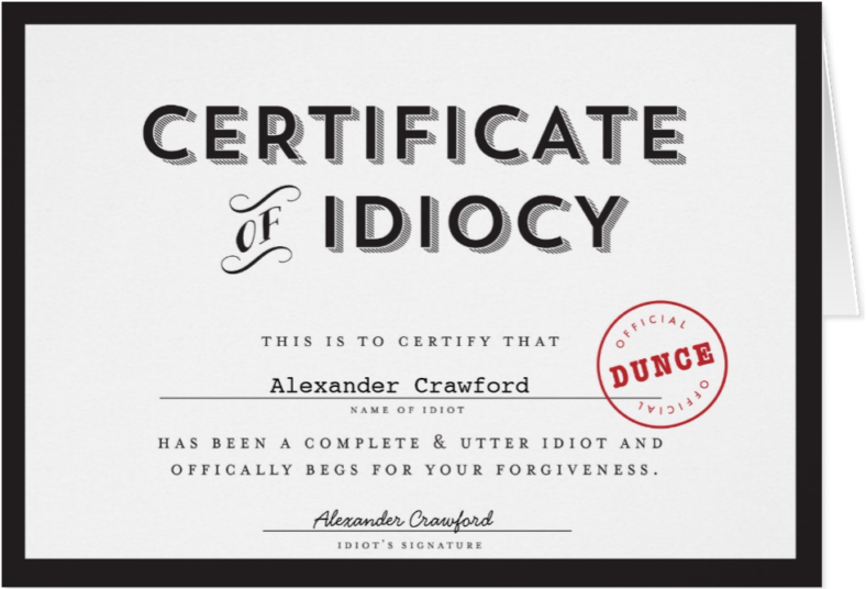 certificate of idiocy funny sorry card template 788x536