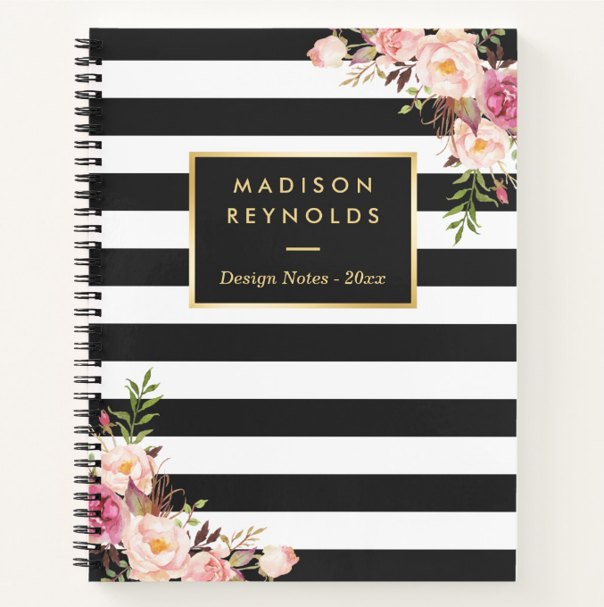 classy striped floral notebook cover template