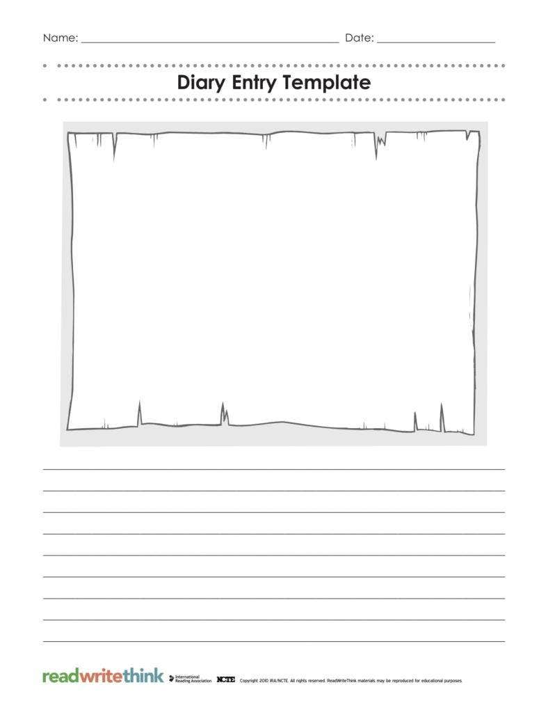 It's just an image of Rare Diary Entry Template