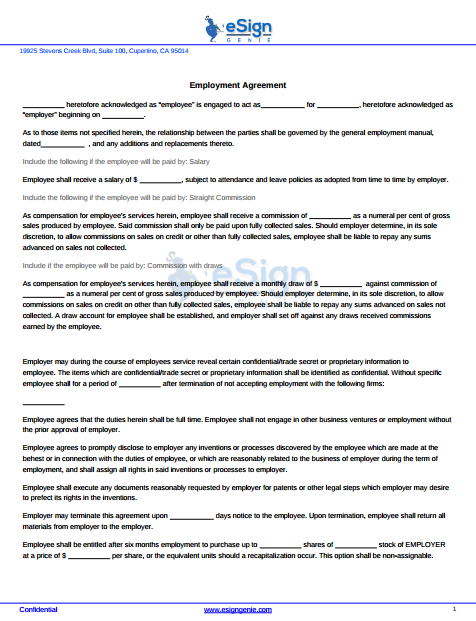 esign genie employment agreement