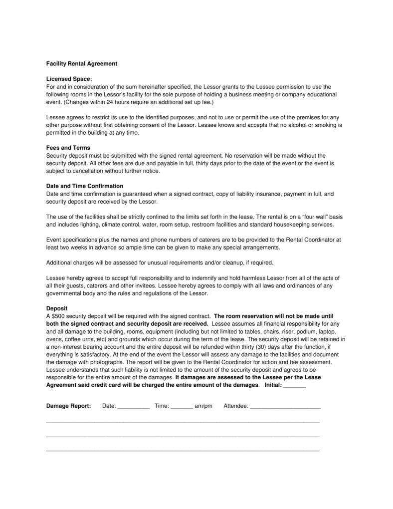 9  facility rental agreement templates