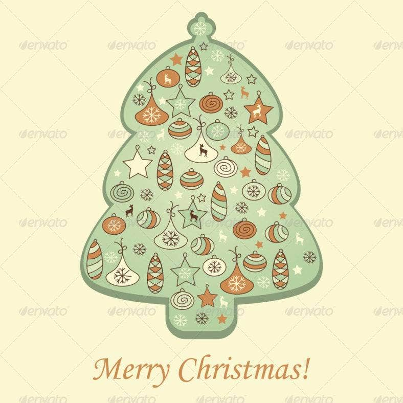 fir-tree-small-greeting-card-template