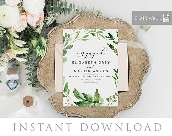 greenery-engagement-announcement-template