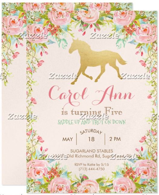 horse-floral-birthday-event-announcement-template