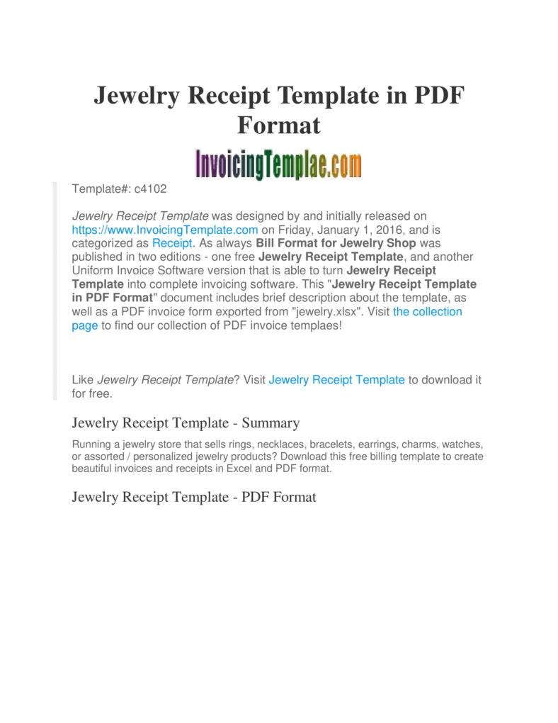 jewelry invoice template