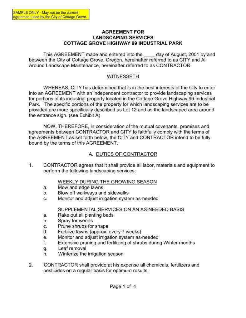 gardening contract template - 6 landscaping services contract templates pdf free