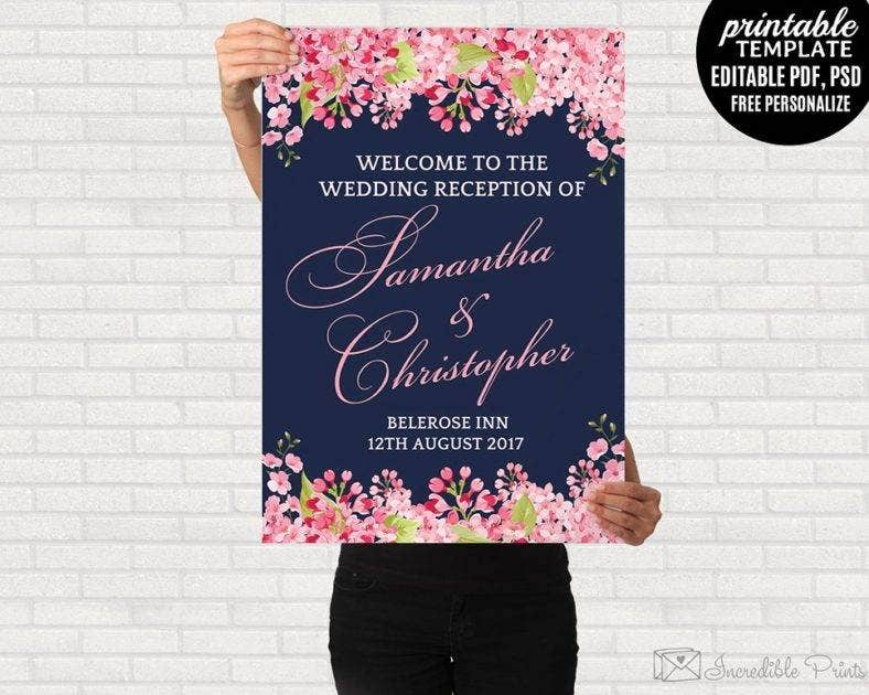 navy floral welcome signage template 788x630