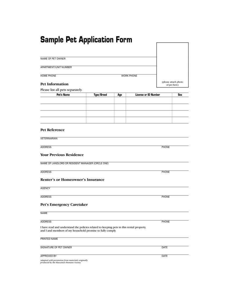 Revered image regarding pet adoption forms printable