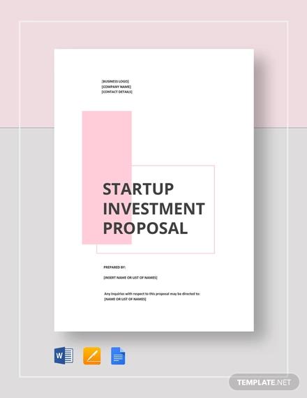 startup investement proposal