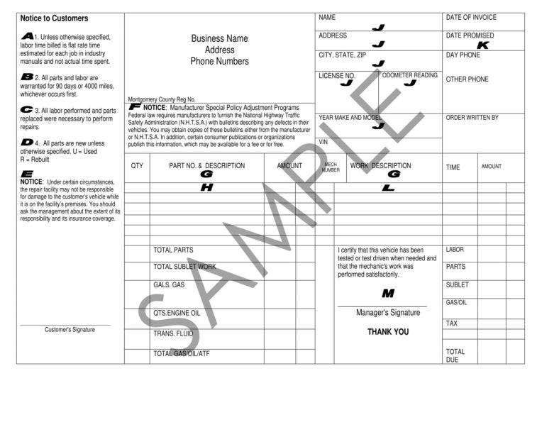 Vehicle Repair Invoice Templates  Pdf  Free  Premium Templates