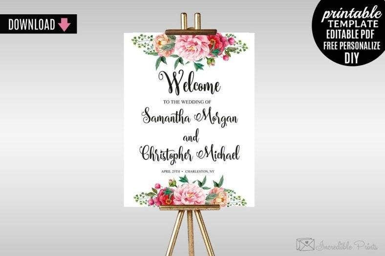 watercolor floral welcome signage template 788x524