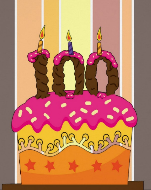 100th birthday candle and cake card