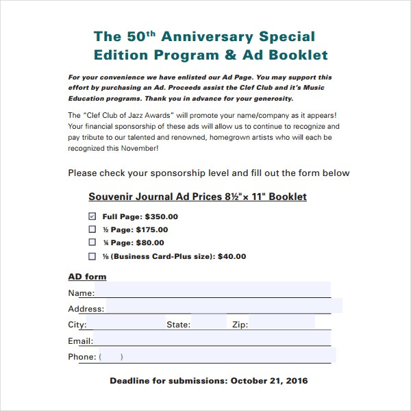 50th anniversary special program template