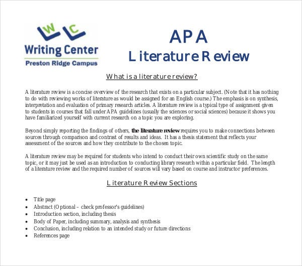 apa literature review introduction sample