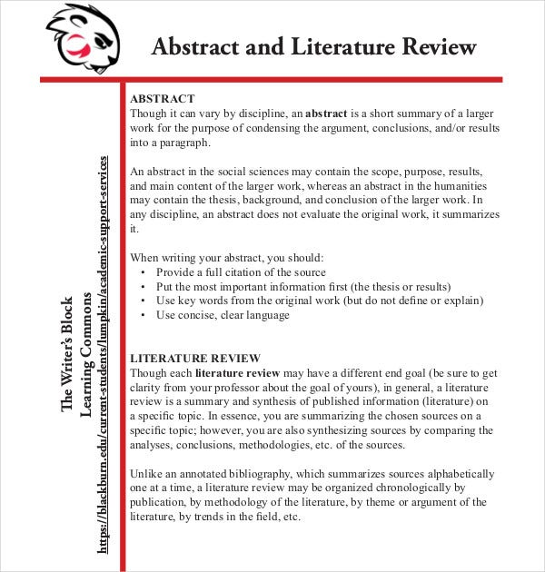 abstract and literature review
