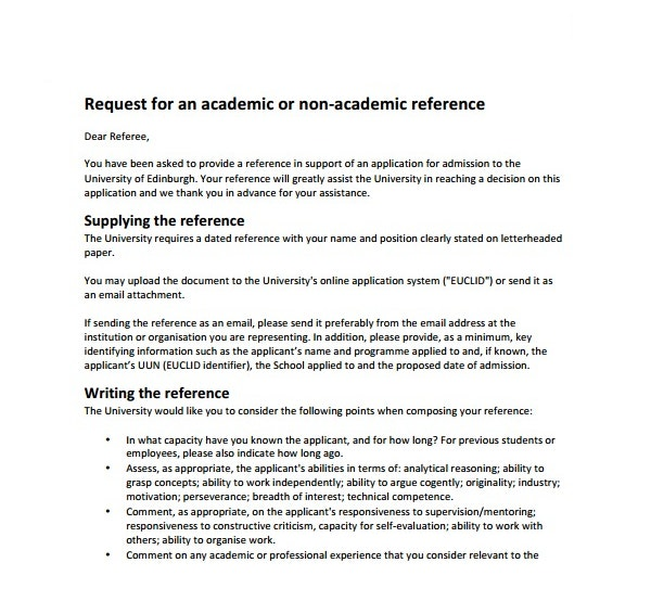 Academic Reference Request Letter