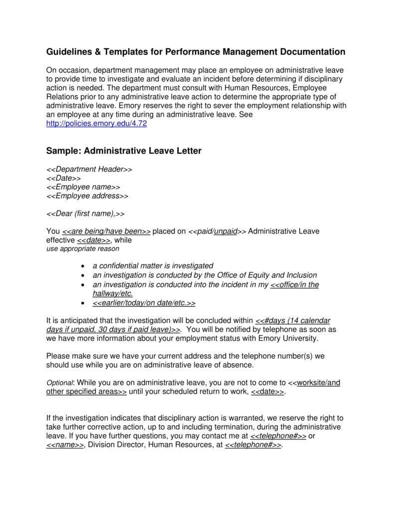 Administrative leave letter