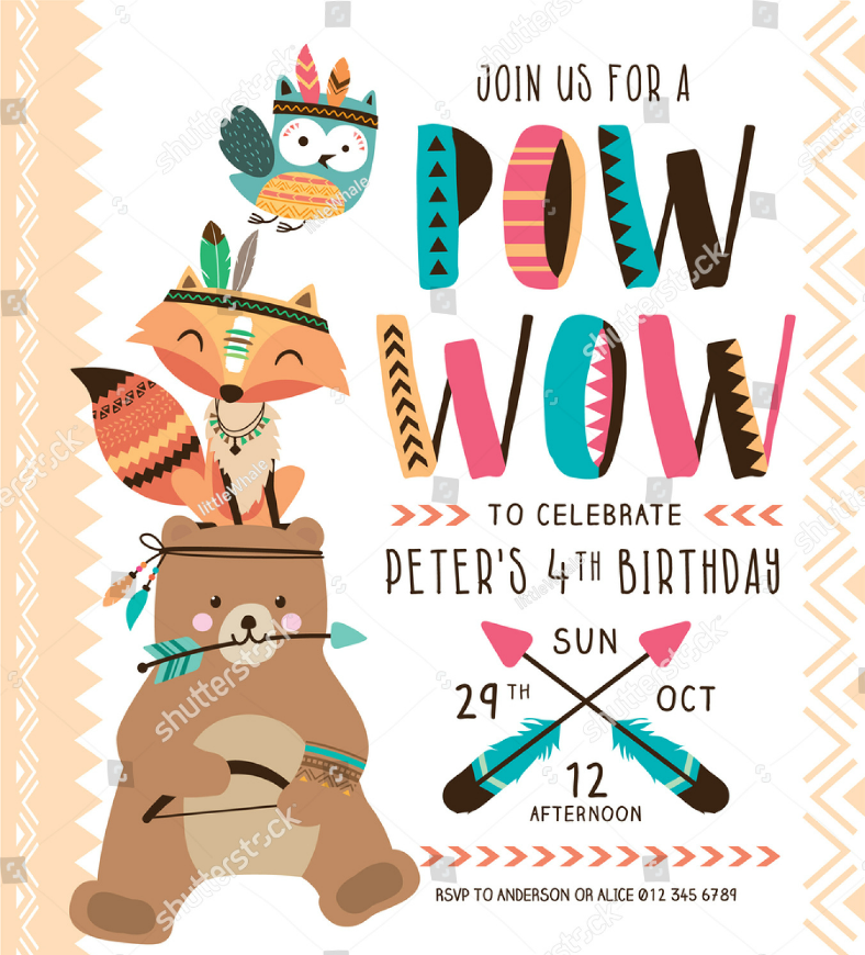 adorable animals birthday invitation template 788x870