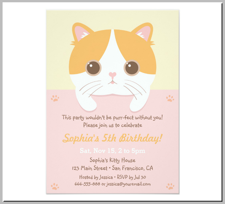 Adorable Round Kitty Birthday Invitation Template