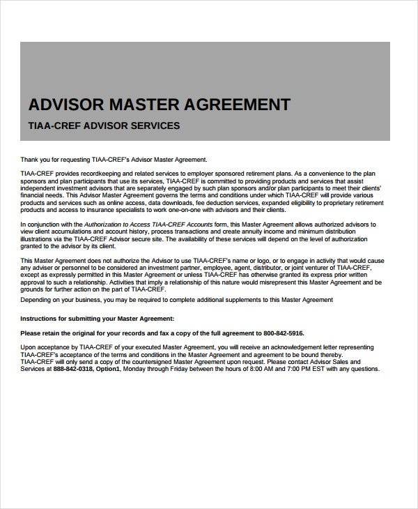 advisor master agreement