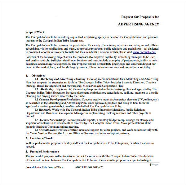 agency proposal request template