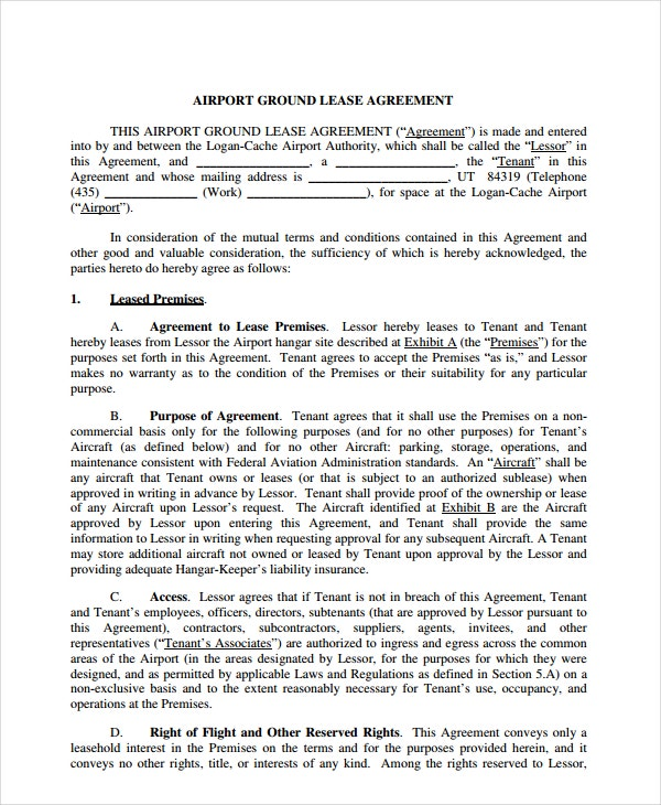airport ground lease agreement