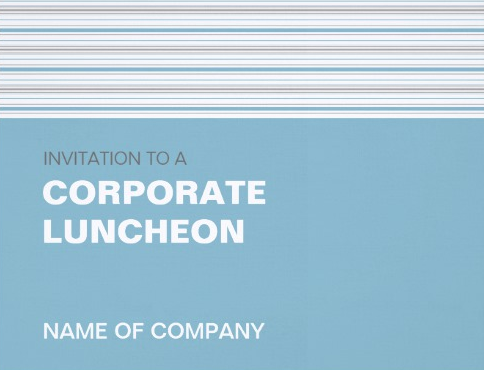 Amara Stripe Cornflower Corporate Luncheon Card