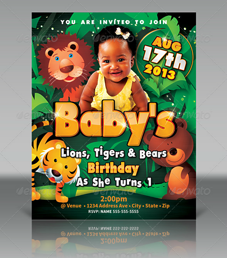 Animal Birthday Party Invitation Template