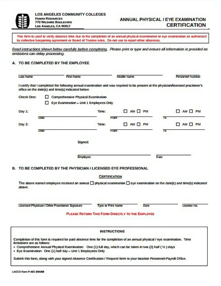 Annual Physical And Eye Examination Certification Form