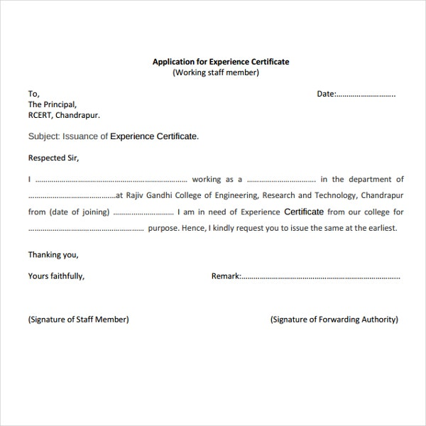 Application for Job Experience Certificate