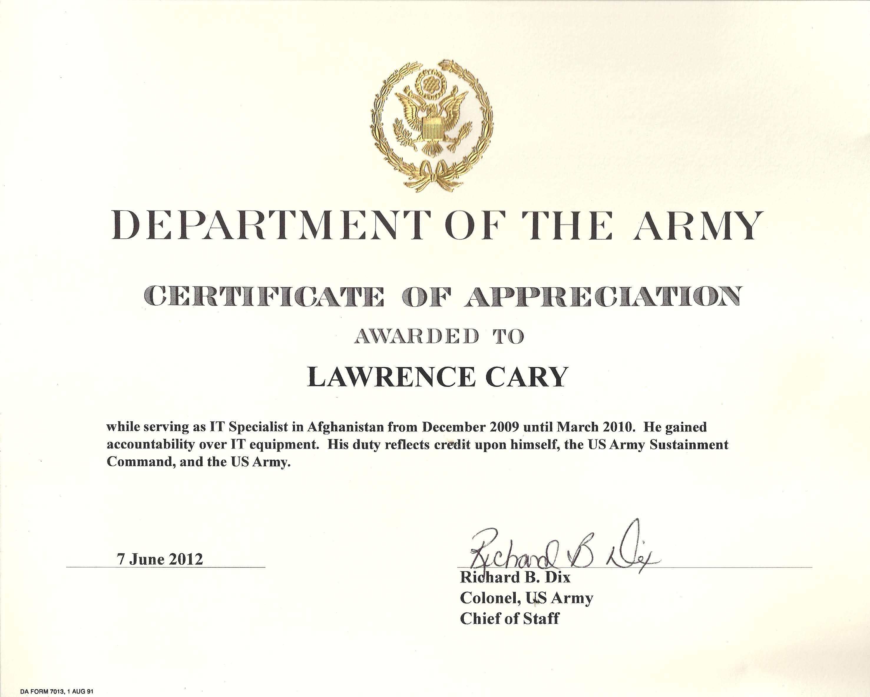 6 army appreciation certificate templates pdf docx free army certificate of appreciation template yelopaper Image collections