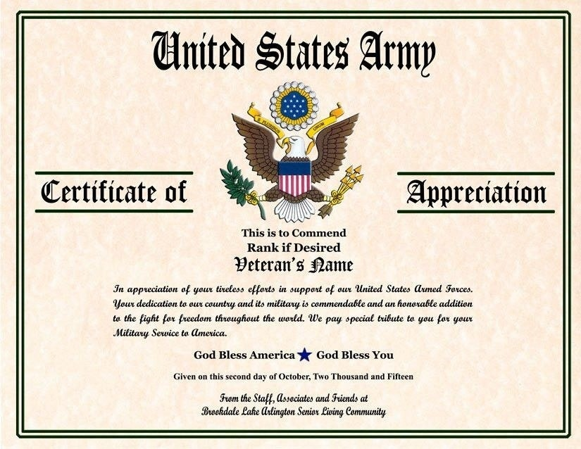6 Army Appreciation Certificate Templates Pdf Docx Free