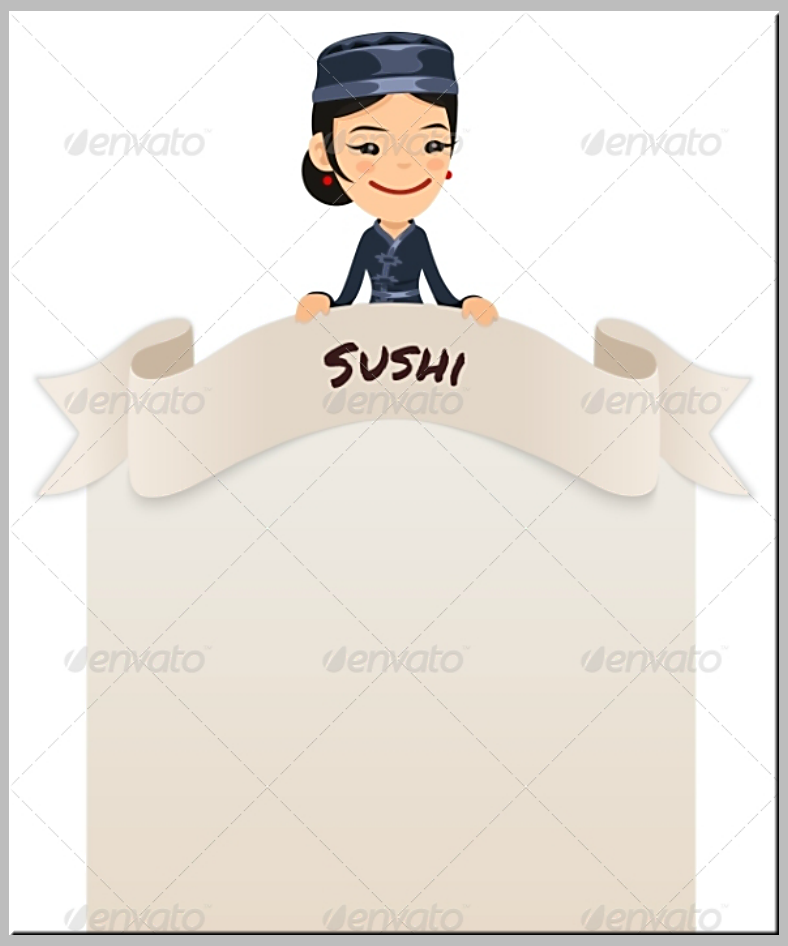 Asian Chef Blank Menu Template