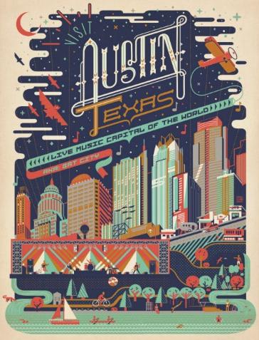 austin texas aka bat city postcard