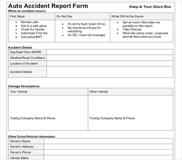 20  accident report templates