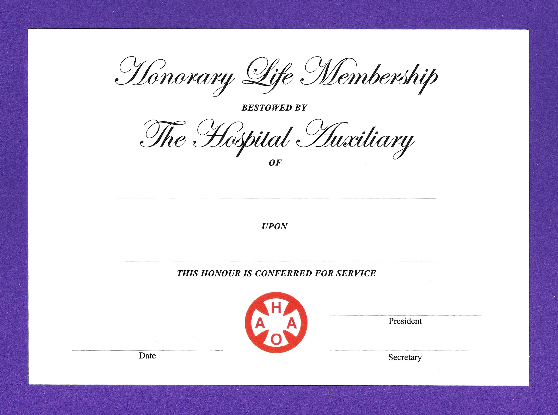 Auxiliary Honorary Membership Certificate Template