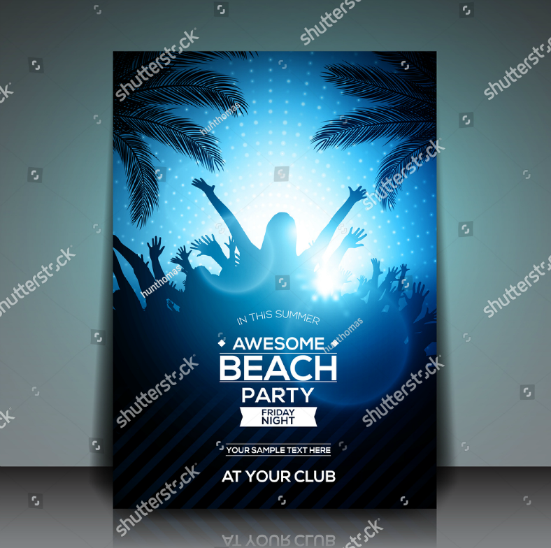 awesome beach party flyer template 788x784