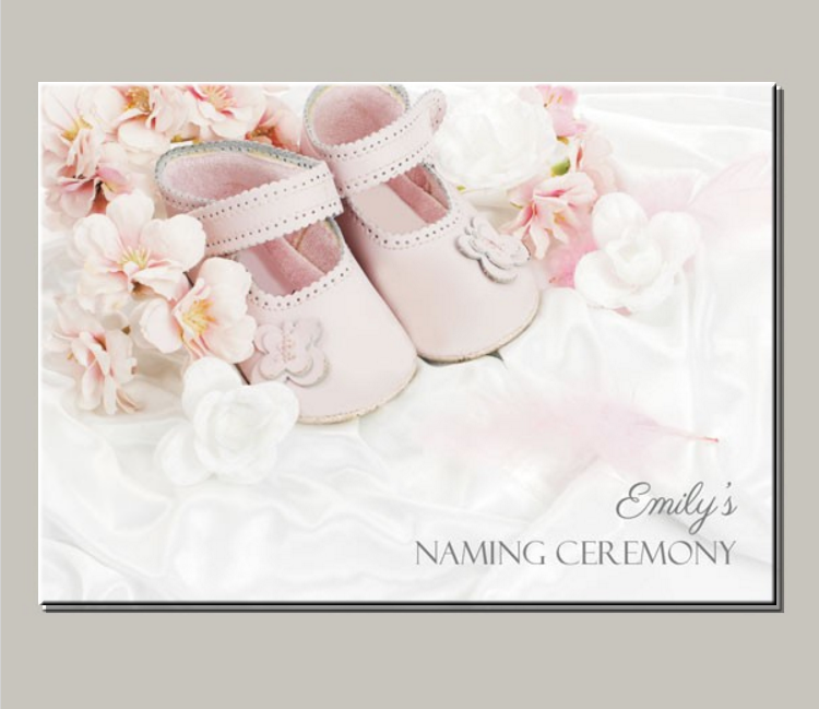 Baby Shoes Naming Ceremony Invitation Template