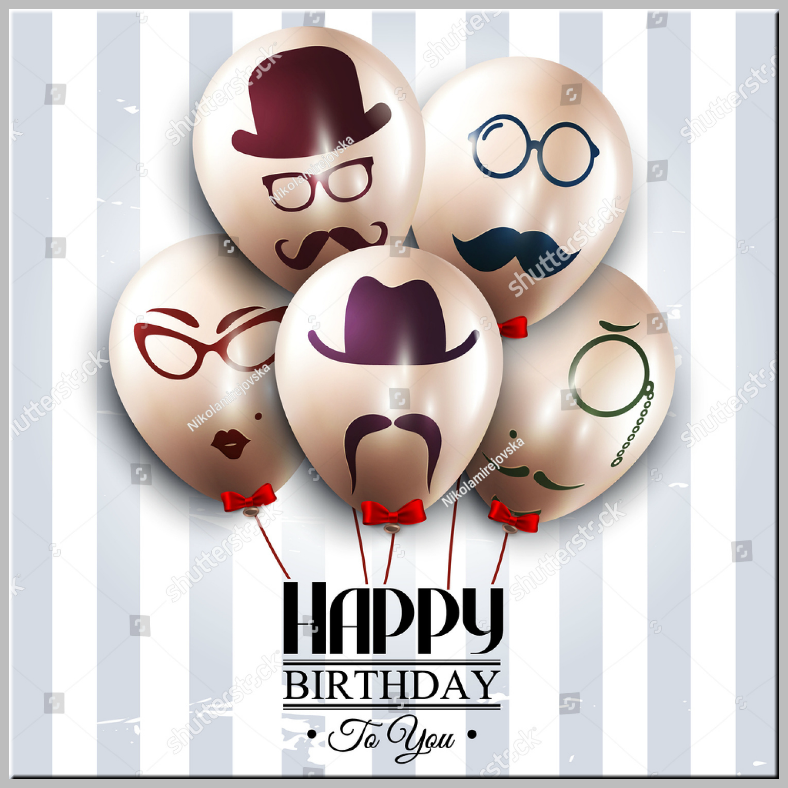 Balloon Heads Dad Birthday Card Template