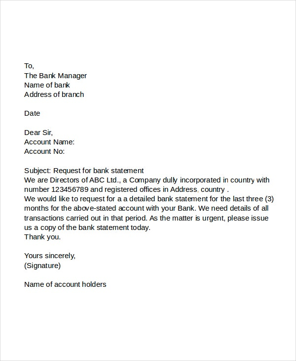 letter of request for loan balance statement 5 request letter to banks pdf doc free amp premium 28416 | Bank Statement of Account Request Letter
