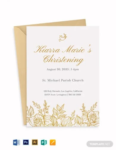 baptism gold florist invitation template
