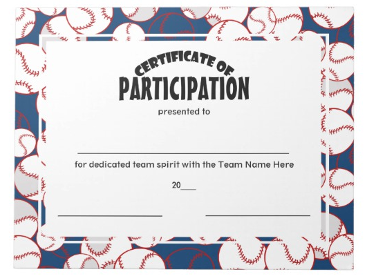 Baseball Certificates of Participation