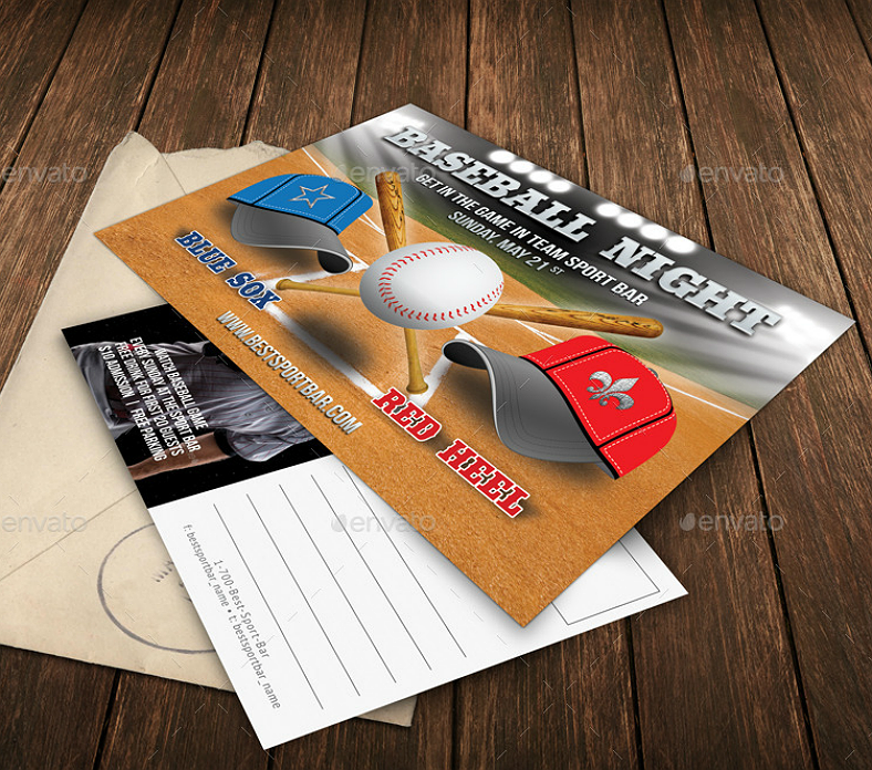 Baseball Night Invitation Postcard Template