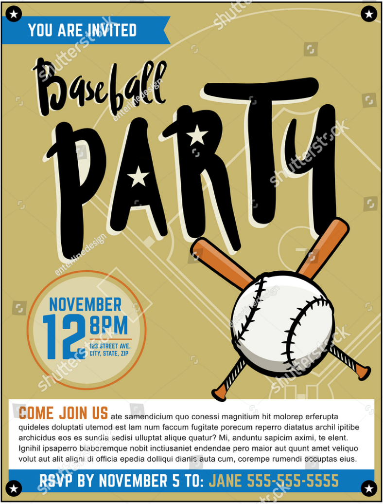 Baseball Party Vector Invitation Template