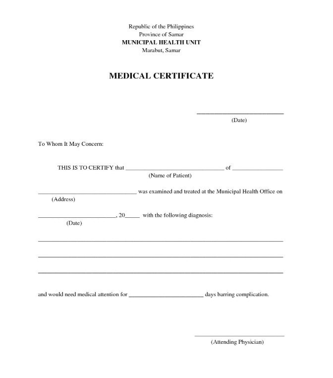 basic customizable medical certificate