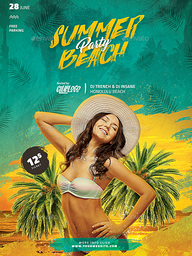 beach music party flyer template 788x1050