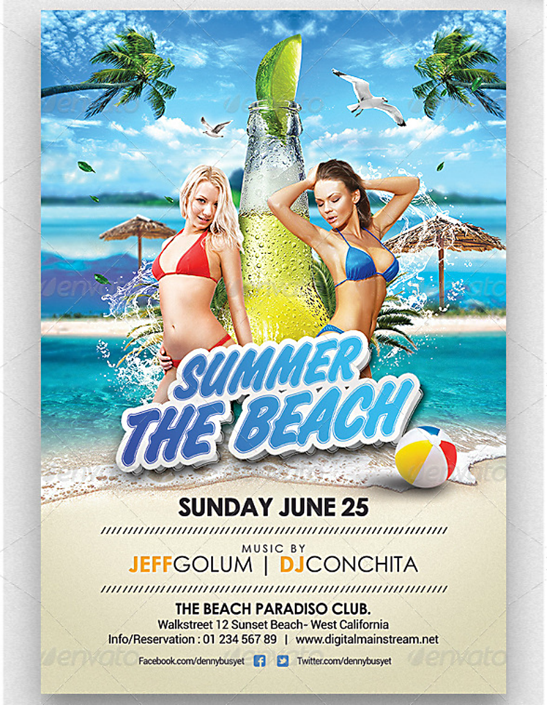 beach paradiso club flyer template 788x1016