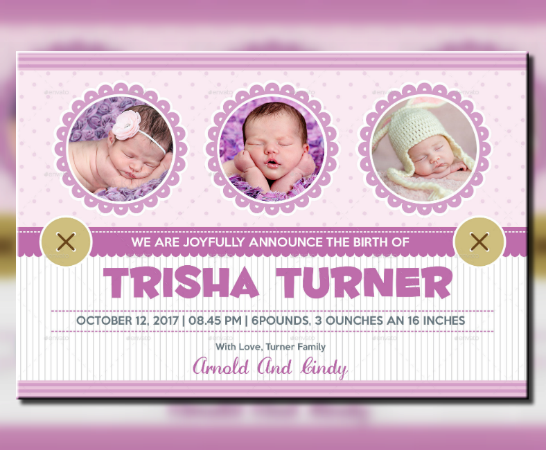 Beautiful Baby Announcment Postcard Template