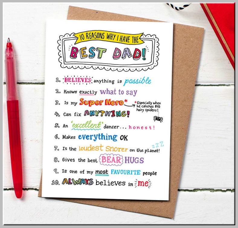 Best Dad Handwritten Birthday Card Template