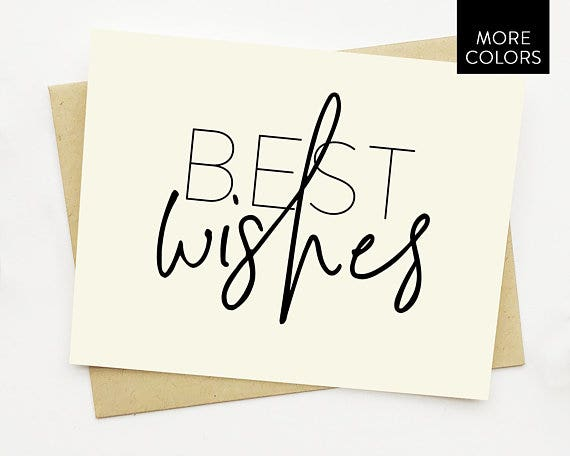 Best Wishes Card with Lined Envelopes